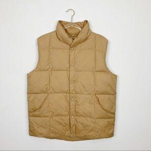 Lands End Tan Goose Down Puffer Vest Size M